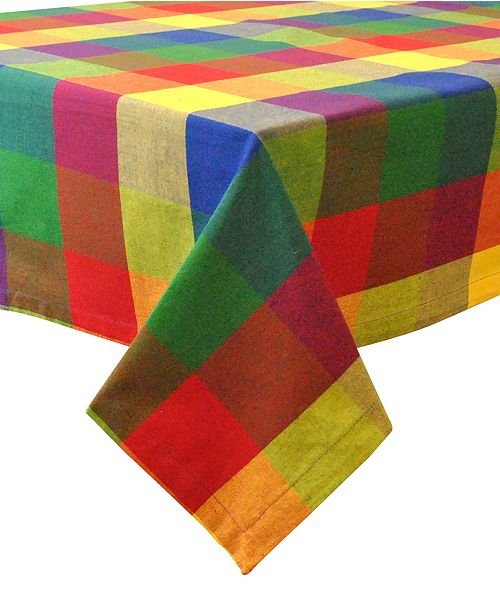 "Design Import Indian Summer Check Tablecloth 60"" x 84"""