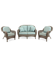 Sandy Cove Outdoor Wicker 3-Pc. Seating Set (1 Loveseat and 2 Club Chairs), Created for Macy's