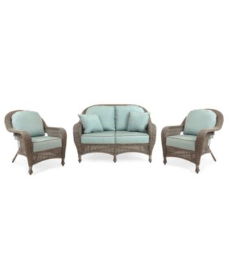 Sandy Cove Outdoor Wicker 3 Pc. Seating Set (1 Loveseat And 2 Club Chairs),  Created For Macyu0027s