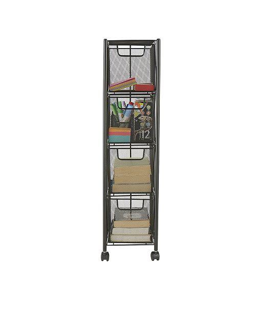 Mind Reader 4 Drawer Storage Cart, Heavy Duty Multi-Purpose Cart