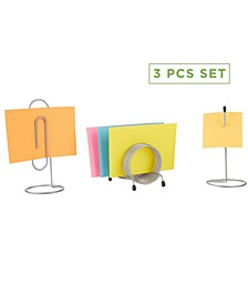 3 Piece Set Bill & Letter Holder, Ticket Spindle, Completed Office Work Set