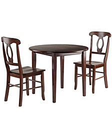 Clayton 3-Piece Drop Leaf Table with 2 Keyhole Back Chairs Set