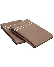 Superior 800 Thread Count Cotton Solid Pillowcase Set with Embroidery - Standard