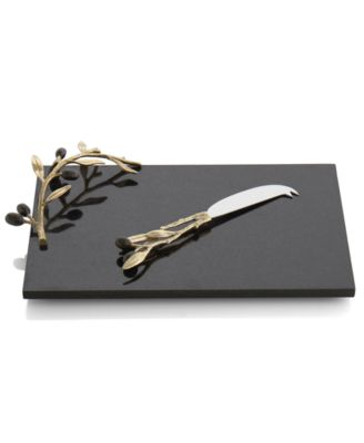 Olive Branch Gold Cheese Board with Knife