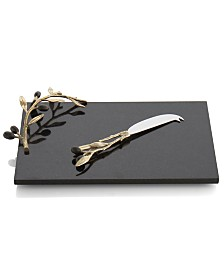 Michael Aram Olive Branch Gold Cheese Board with Knife