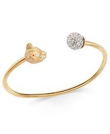 Gold-Tone Pavé Ball & Leopard Head Cuff Bracelet
