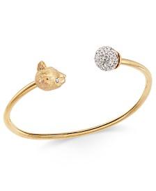 Kate Spade New York Gold-Tone Pavé Ball & Leopard Head Cuff Bracelet