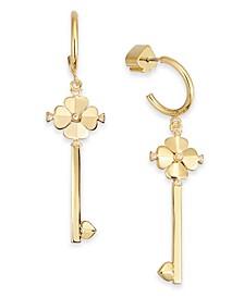 Gold-Tone Pavé Key Drop Hoop Earrings