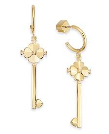 Kate Spade New York Gold-Tone Pavé Key Drop Hoop Earrings