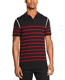 Men's Colorblocked Stripe Sweater Polo Shirt