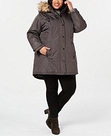 Juniors' Plus Size Hooded Faux-Fur-Trim Parka