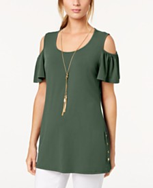 JM Collection Cold-Shoulder Necklace Flutter-Sleeve Top, Created for Macy's
