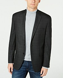 Men's Classic-Fit UltraFlex Stretch Charcoal/Blue Plaid Sport Coat