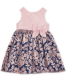 Rare Editions Baby Girls Embroidered Mikado Dress