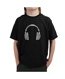 Big Boy's Word Art T-Shirt - 63 Different Genres of Music