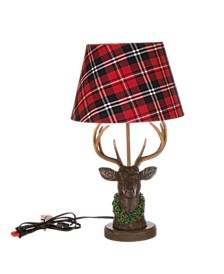 "20""H Reindeer Table Lamp with Plaid Shade"