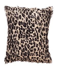 "Spotted Goat Fur Pillow Leopard 18"" x 18"""