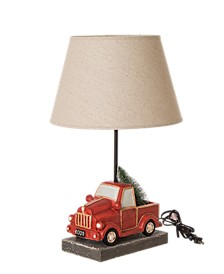 Truck Table Lamp with Burlap Shade