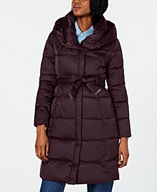 Belted Shawl-Collar Down Puffer Coat