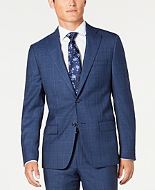 Men's Modern-Fit Stretch Blue/Red Plaid Suit Separate Jacket