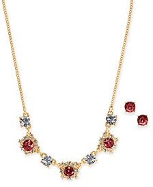 """Charter Club Gold-Tone Crystal and Stone Collar Necklace & Stud Earrings Set, 17"""" + 2"""" extender, Created for Macy's"""