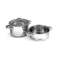 Sedona Stainless Steel 4-Quart Multi Cooker with Glass Lid & Steam Tray