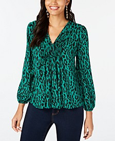Pleated Leopard-Print Peasant Top, Created for Macy's