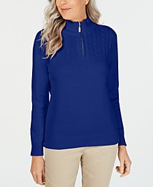 Zip-Neck Cotton Sweater, Created for Macy's