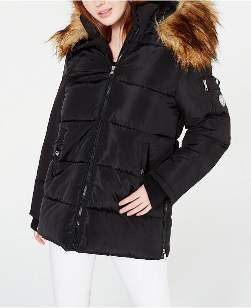 Madden Girl Juniors' Hooded Faux-Fur-Trim Puffer Coat