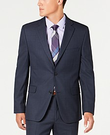 Men's Slim-Fit Performance Stretch Navy Windowpane Suit Separate Jacket, Created for Macy's