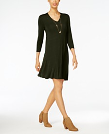 Style & Co V-Neck Swing Dress, Created for Macy's