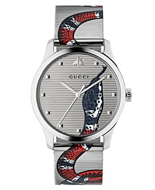 Unisex Swiss G-Timeless Snake Print Stainless Steel Mesh Bracelet Watch 38mm