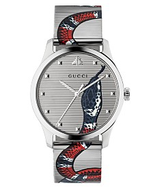 Gucci Unisex Swiss G-Timeless Snake Print Stainless Steel Mesh Bracelet Watch 38mm