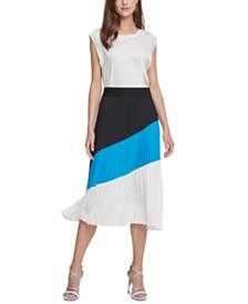 DKNY Pleated Printed Colorblocked Skirt