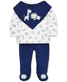 Baby Boys 3-Pc. Cotton Safari-Print Bib, Top & Pants Set