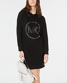 Hooded Studded-Logo Sweatshirt Dress