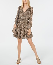 Michael Michael Kors Leopard Ruffled Dress