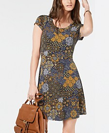 Medallion-Print Dress, Regular & Petite Sizes