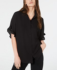 Ruffle-Sleeve Button-Up Top