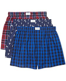 Men's 3-Pk. Cotton Classics Printed Woven Boxers