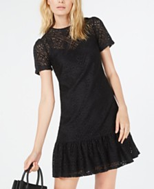 Michael Michael Kors Ruffle-Hem Lace Dress