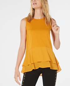 Michael Michael Kors Double-Hem Top, Regular & Petite Sizes