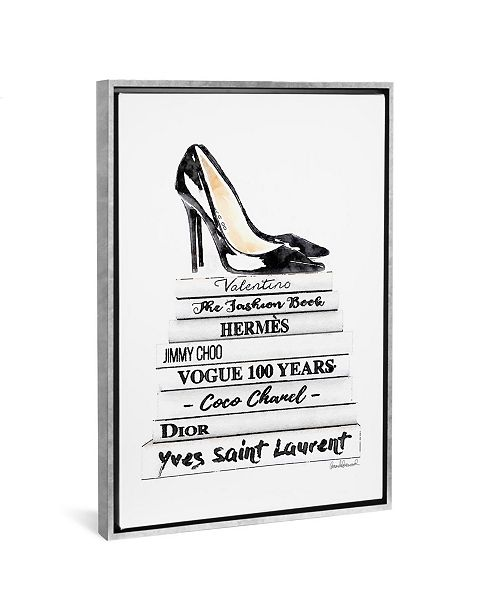 """iCanvas White Fashion Books with Black Heels by Amanda Greenwood Gallery-Wrapped Canvas Print - 40"""" x 26"""" x 0.75"""""""
