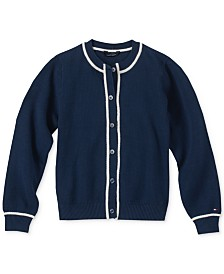 Tommy Hilfiger Little Girls Contrast-Trim Cotton Cardigan