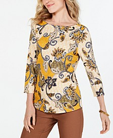 Printed Cotton 3/4-Sleeve Top, Created for Macy's