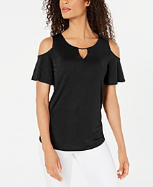 Cold-Shoulder Textured Top, Created for Macy's