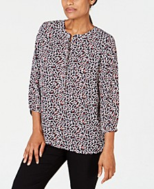 Petite Printed Pleated-Back Top, Created for Macy's