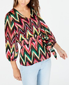 I.N.C. Chevron Wrap Blouse, Created for Macy's