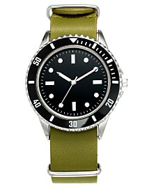 I.N.C. Men's Green Leather Strap Watch 40mm, Created for Macy's