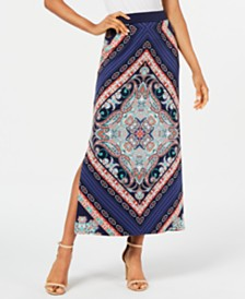 JM Collection Printed Column Skirt, Created for Macy's